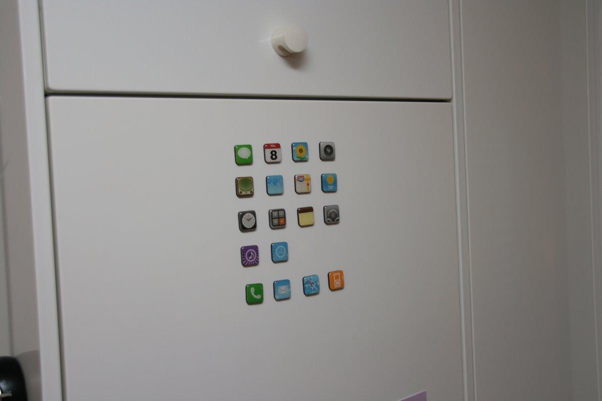 App Magnets an meinem Kühlschrank