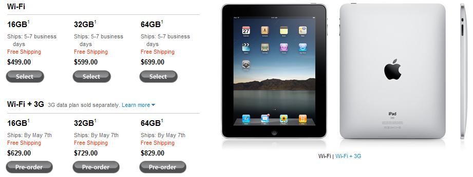Alle iPad Versionen ab 7.Mai verfügbar