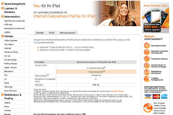 Oranges Prepaid Preisplan für iPad | ©20min.ch