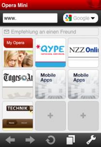 opera mini auf dem iphone