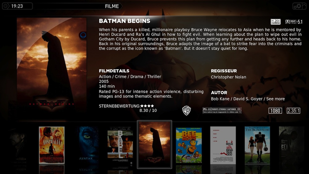 XBMC Filmansicht im Media Stream Theme