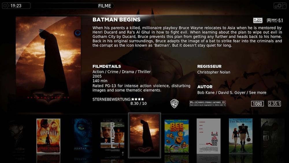 XBMC stellt Filminformationen und Cover schön dar