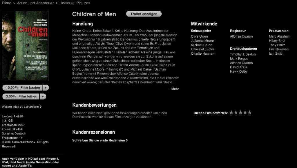 iTunes Schweiz - Filmdetailansicht