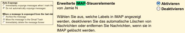 Erweiterte IMAP-Steuerelemente aktivieren