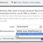 Momentan kein Facebook SMS in der Schweiz.