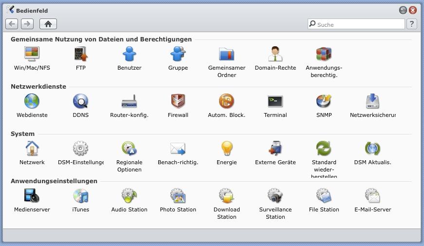 Bedienfeld im Diskstation Manager 3.1