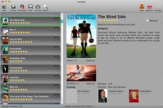 Die Oberfläche des Messy Movie Manager - sehr übersichtlich