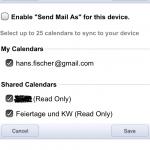 Google Mobile Sync, Kalender auswählen