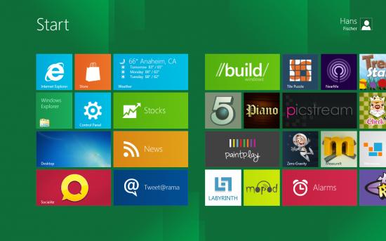 Screenshot Windows 8 Starbildschirm
