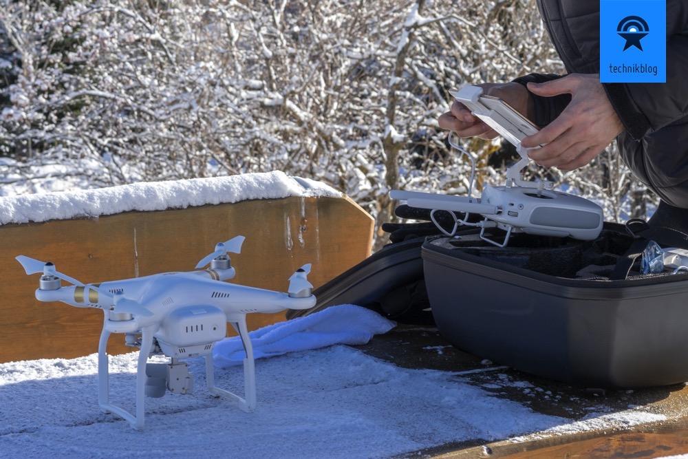 DJI Phantom 3 Setup aufbauen im Winter - Achtung: Akkus sollten warm sein