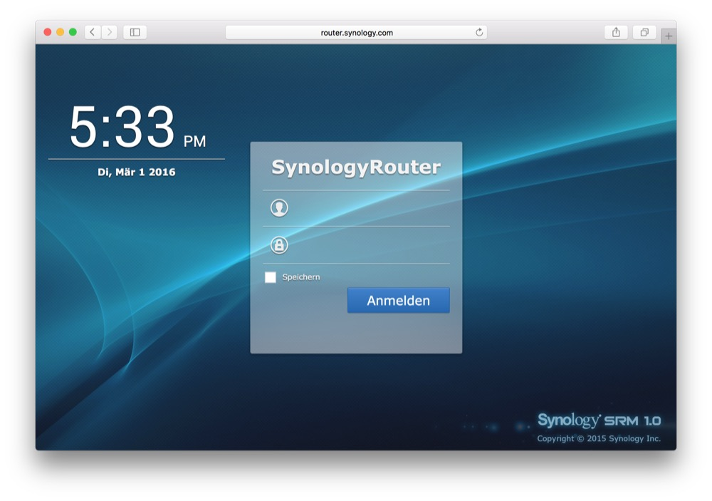 Synology RT1900ac Webinterface