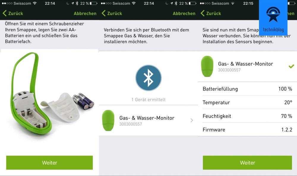 Smappee Gas und Wasser Monitor - Einrichtung App
