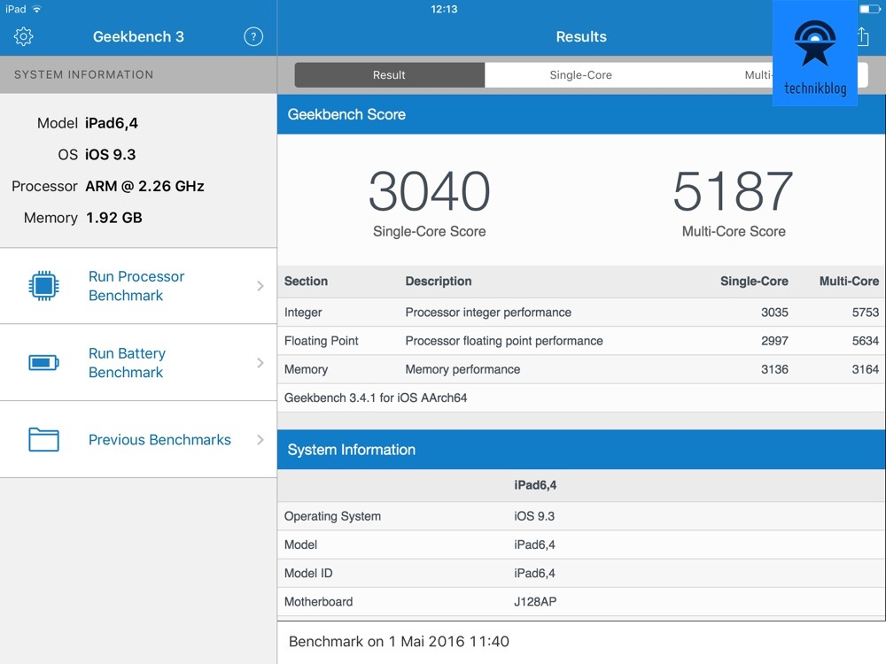 Apple iPad Pro 9.7 Geekbench 3 Resultate