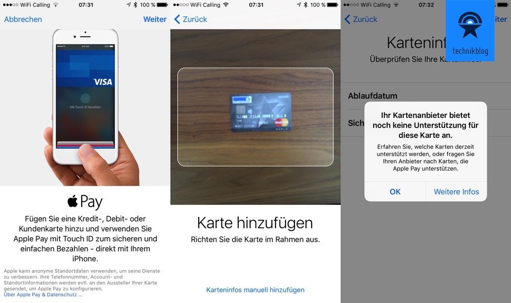 Apple Pay mit meiner Mastercard - funktioniert nicht