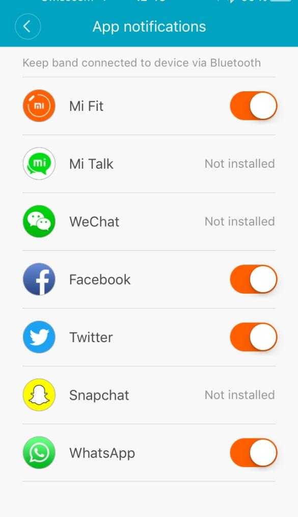 App Notifications MiFit