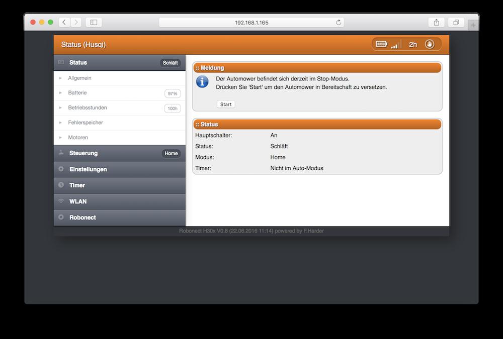 Robonect Webinterface - Startscreen