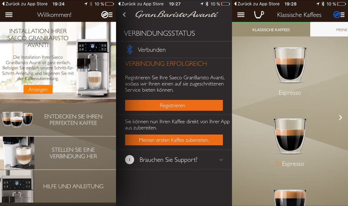 saeco granbaristo avanti kaffeevollautomat mit app bedienung im test. Black Bedroom Furniture Sets. Home Design Ideas