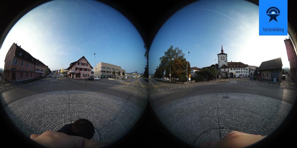 So sieht eine 360° Aufnahme bei der Samsung Gear 360 unbearbeitet aus.