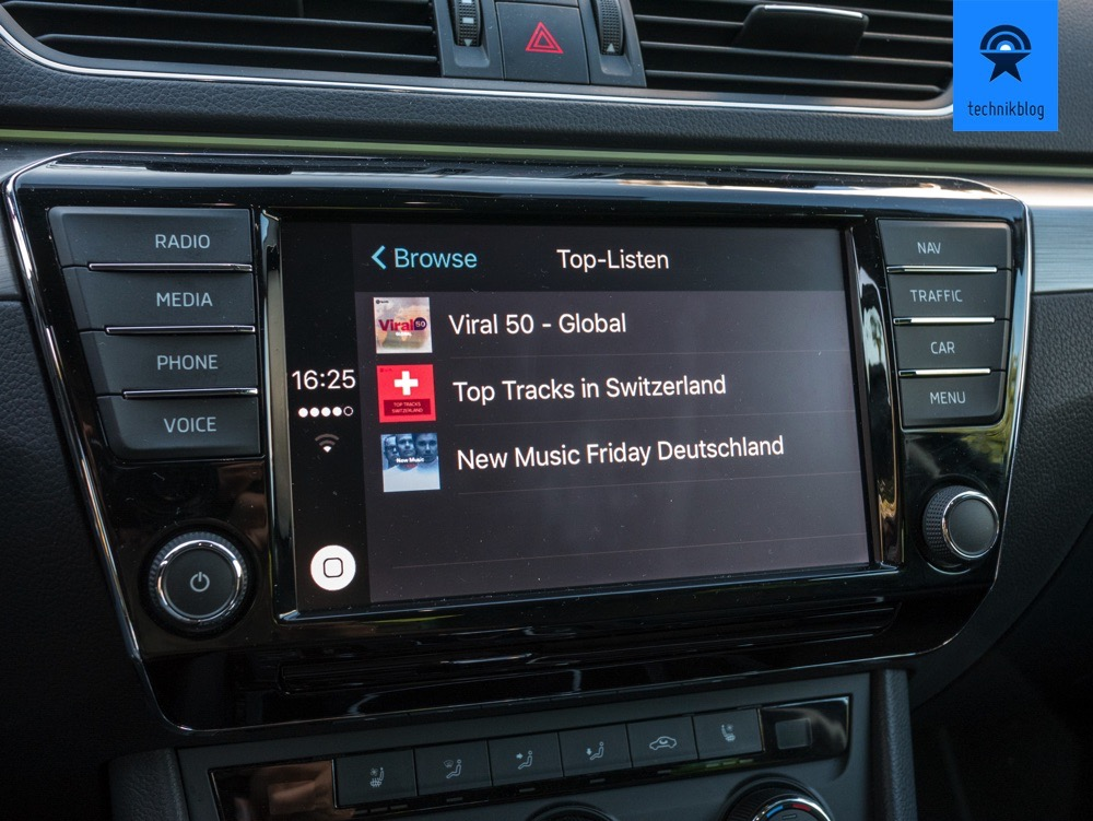 Spotify mit Carplay im Skoda Superb