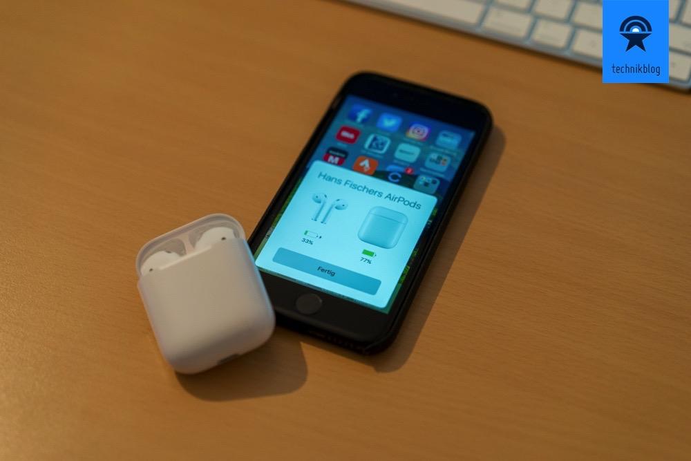 Apple AirPods - Ladezustand des Ladecase und der AirPods werden angezeigt