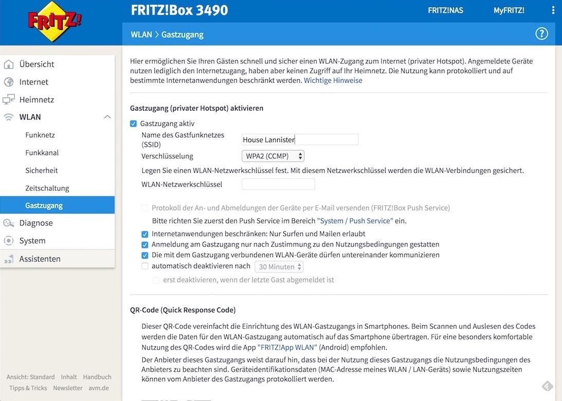 Fritzbox WLAN Gastzugang mit vielen Optionen