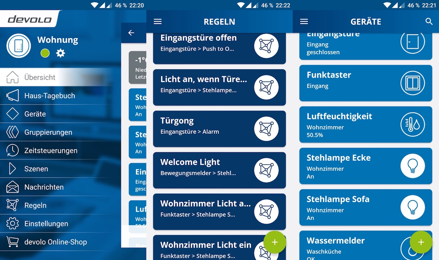 Devolo App Screenshots - Übersicht
