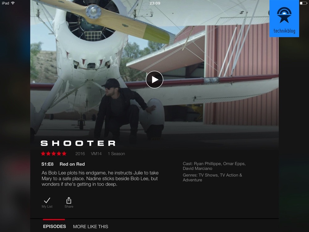 Netflix Serie Shooter auf dem iPad