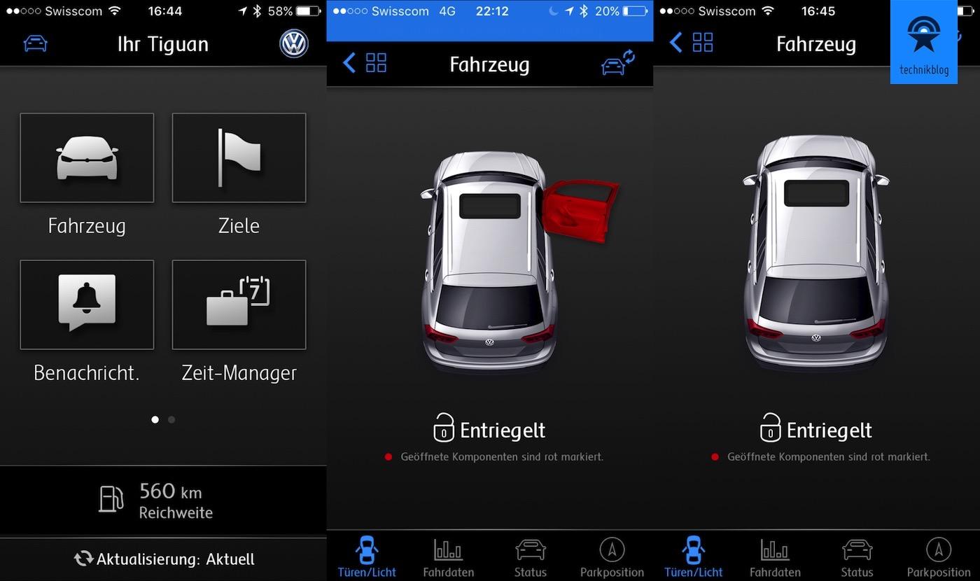 VW Car-Net App auf dem iPhone