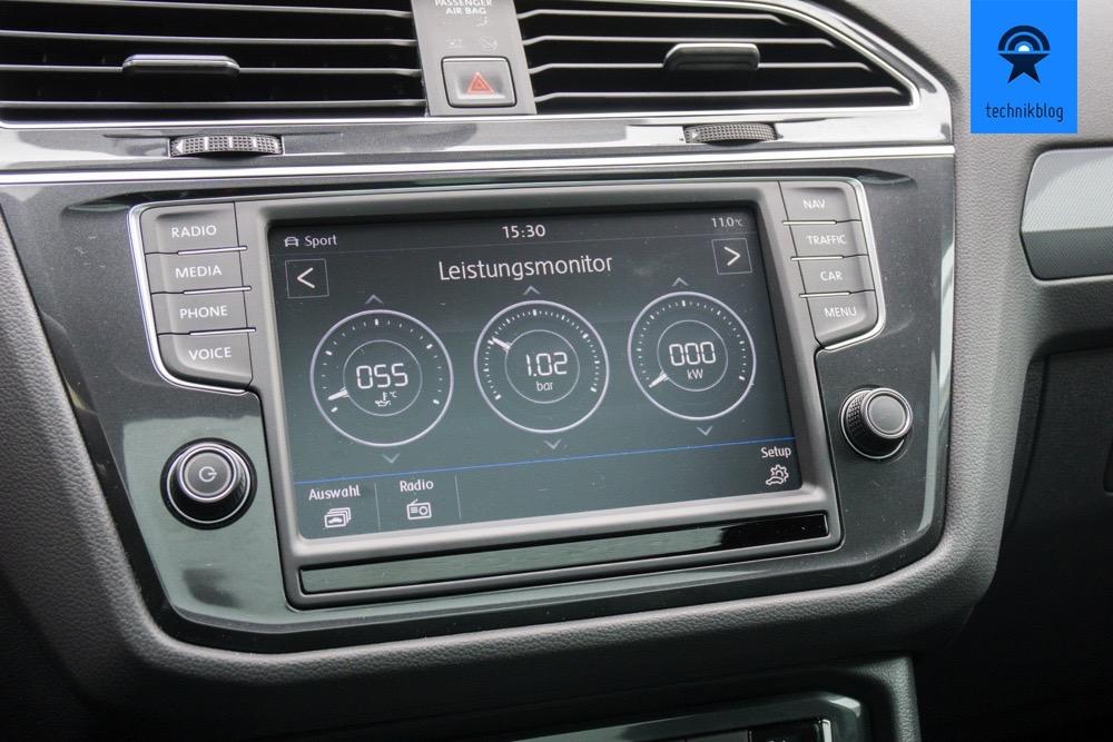 Leistungsmonitor im neuen VW Tiguan