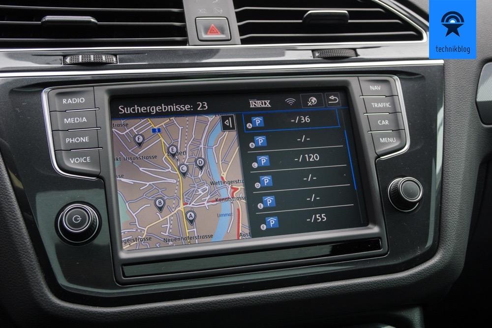VW Car-Net zeigt freie Parkplätze an