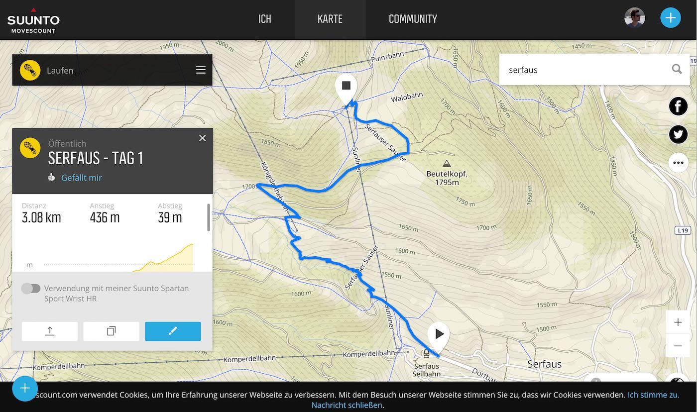 Routenplanung Movescount für Suunto Spartan Sport Wrist HR