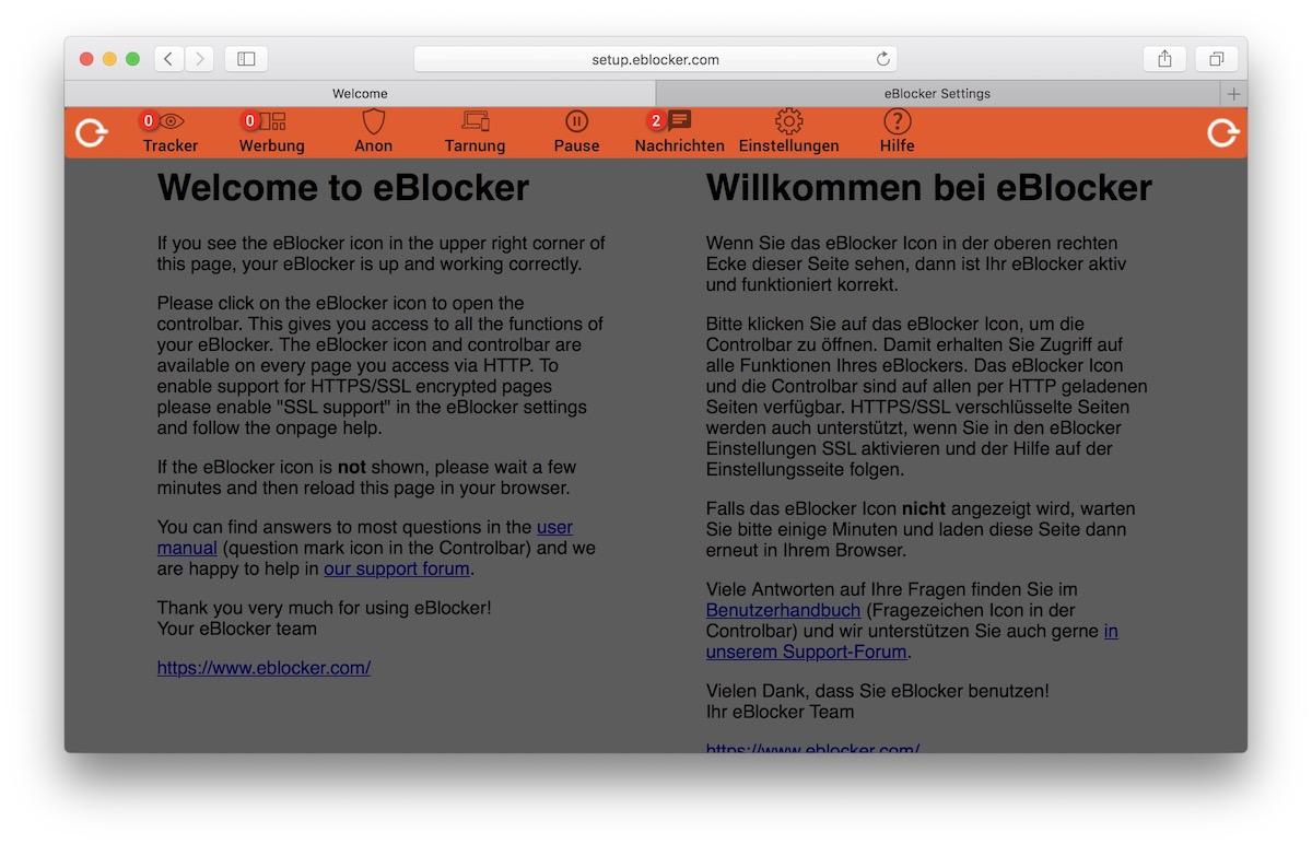 aktivierte eBlocker Leiste im Browser