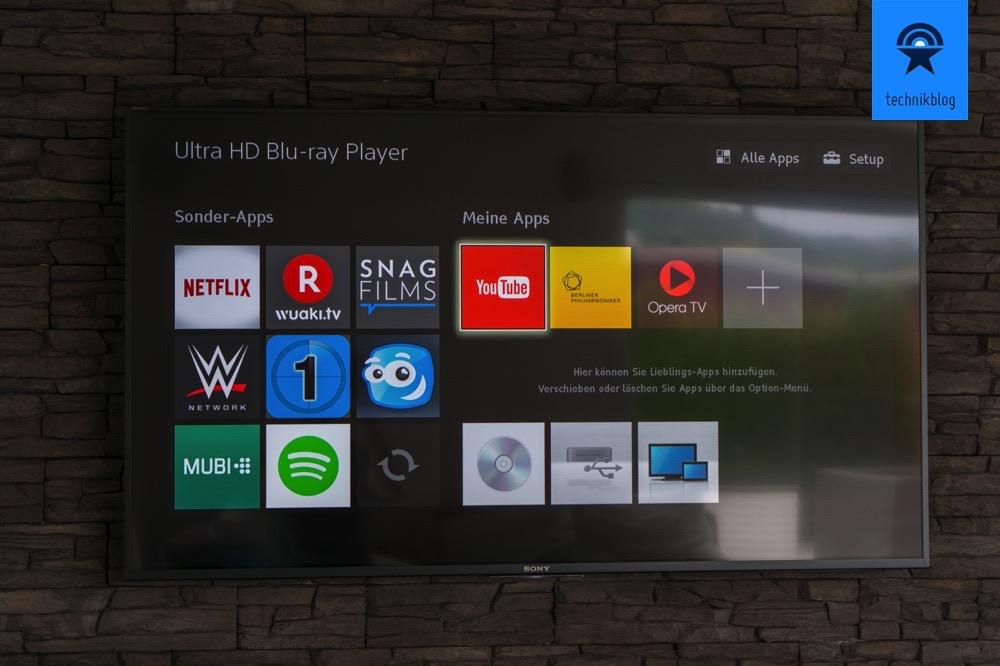 Hauptmenü des Sony Ultra HD Players