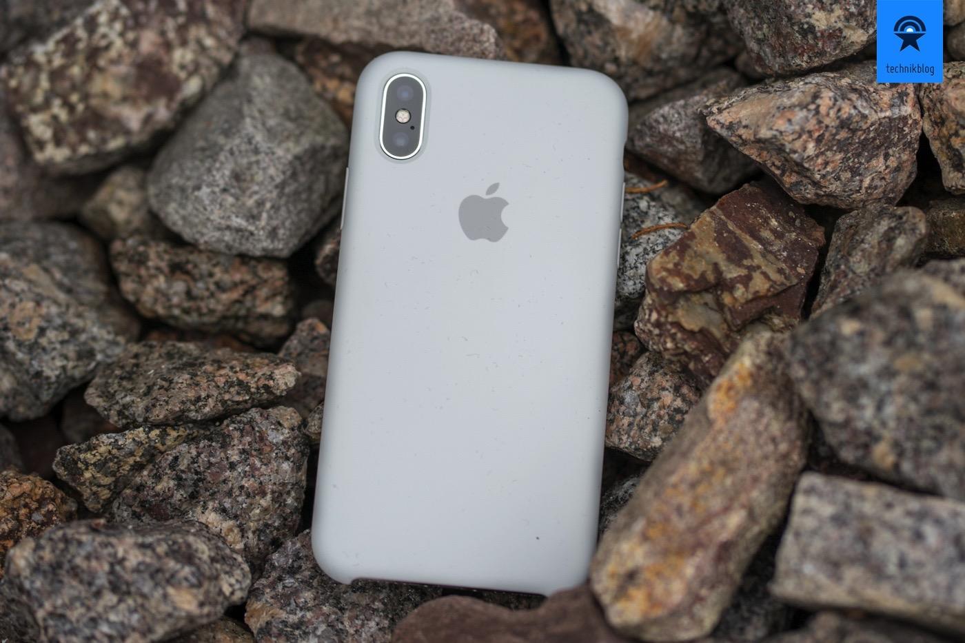 Apple iPhone X in silber mit gläserner Rückseite