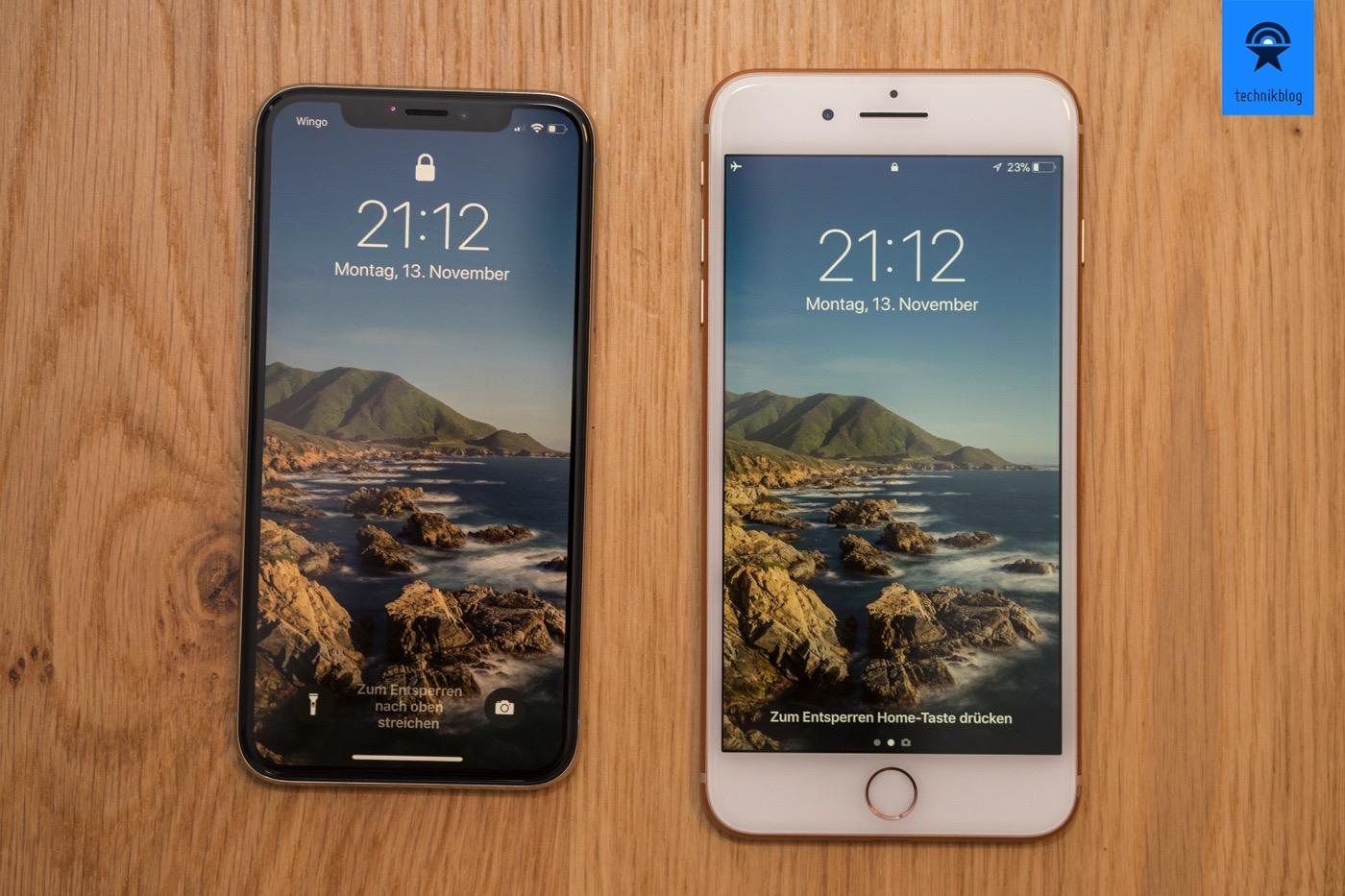 Das iPhone X ist kleines als das iPhone 8 Plus, hat aber den grösseren Bildschirm