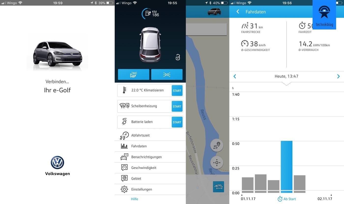 Car-Net App ermöglicht direkt Daten und vor allem Ladezustand des e-Golf abzurufen