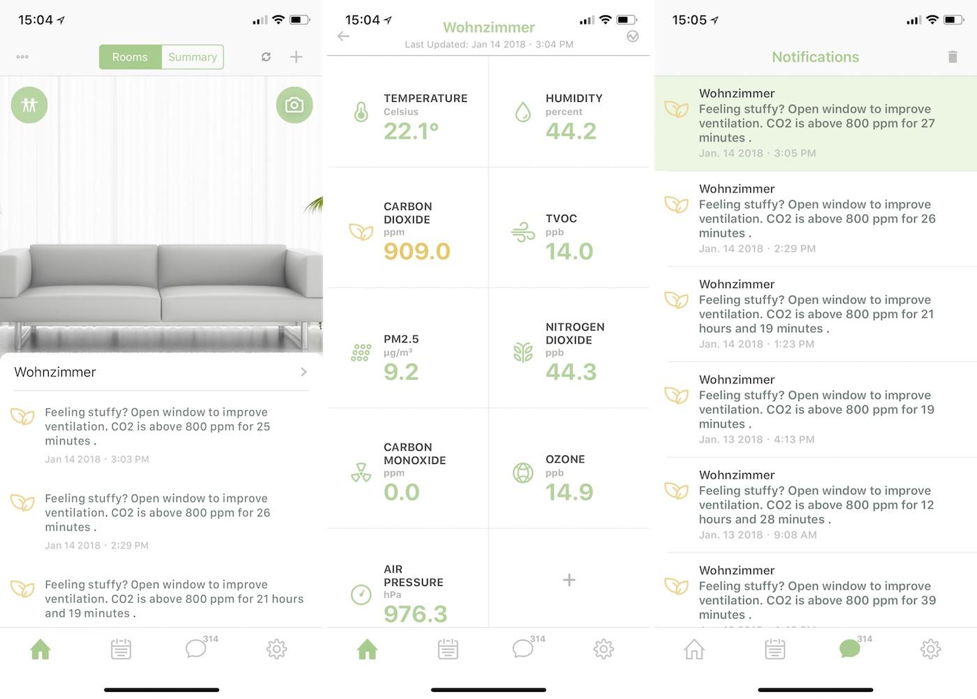 uHoo App in der Übersicht (links), Messwerte (mitte) und die letzten Notifications (rechts)