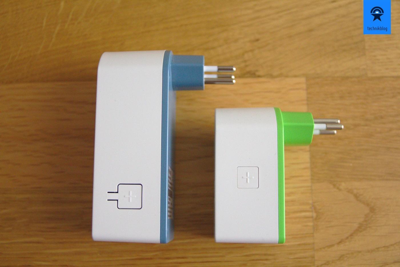 Grössenvergleich Powerline 2000 Adapter und WLAN Energy Switch