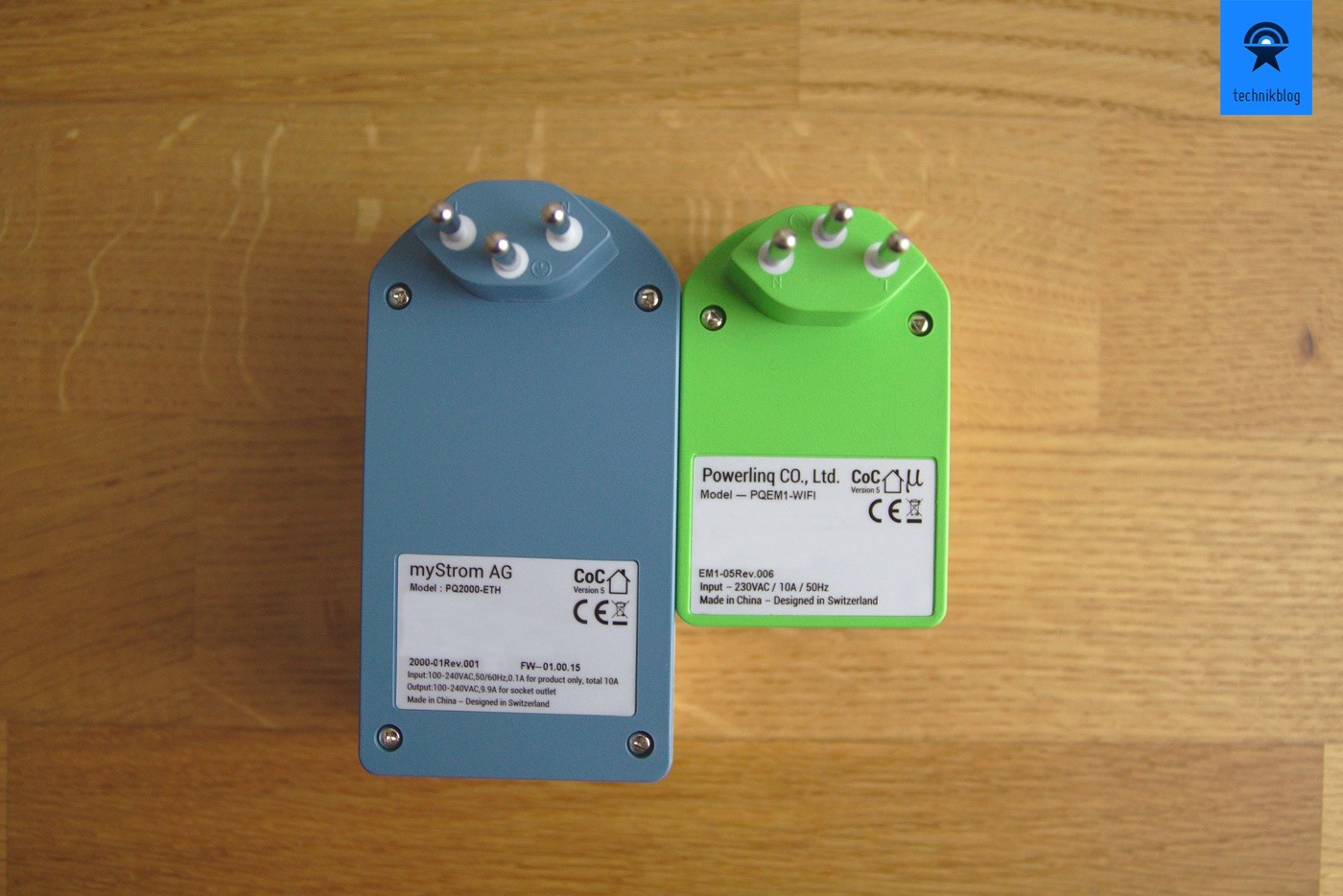Links: myStrom Powerline 2000 / Rechts: myStrom Switch