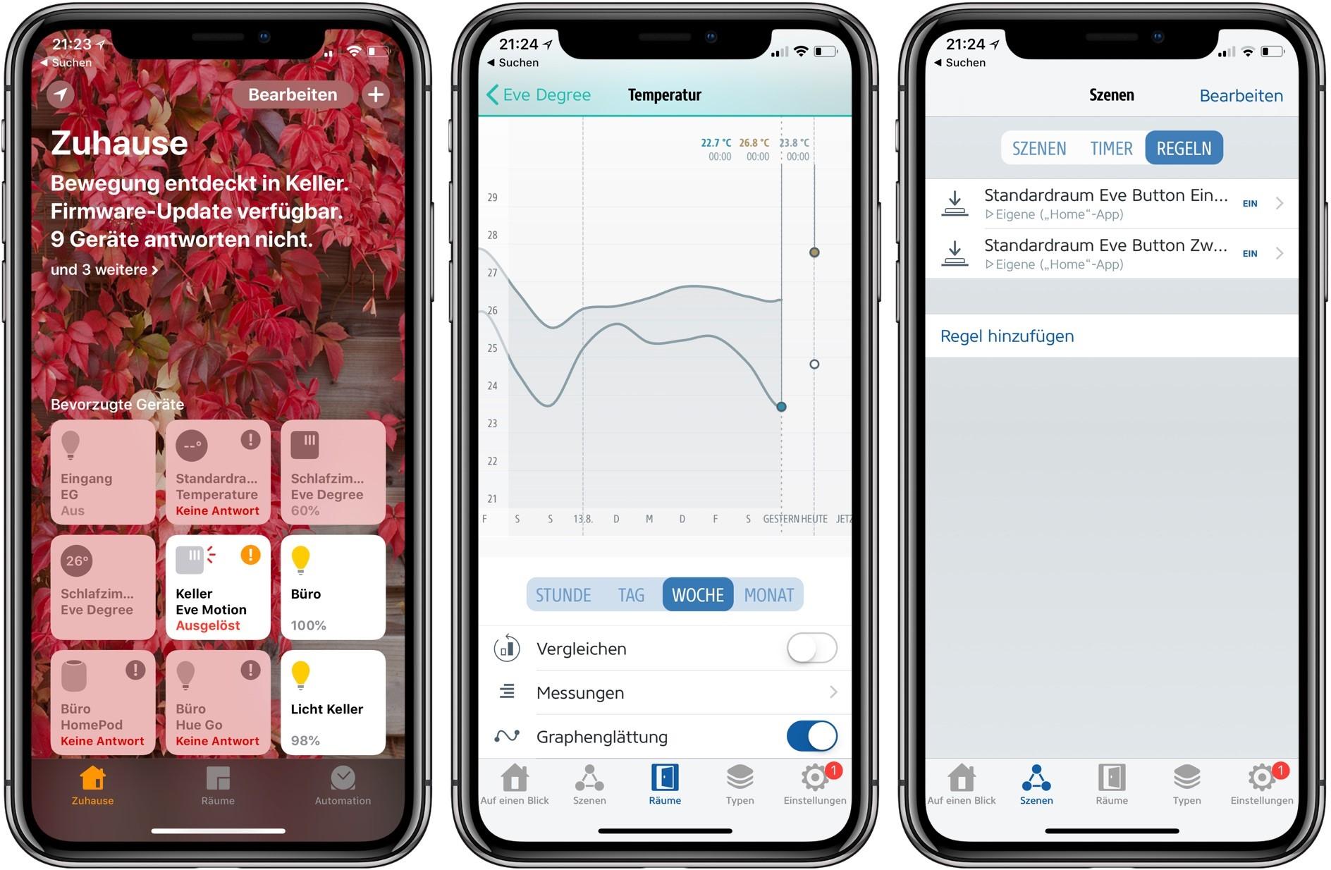 Funktionen in der Apple Home und der Eve App