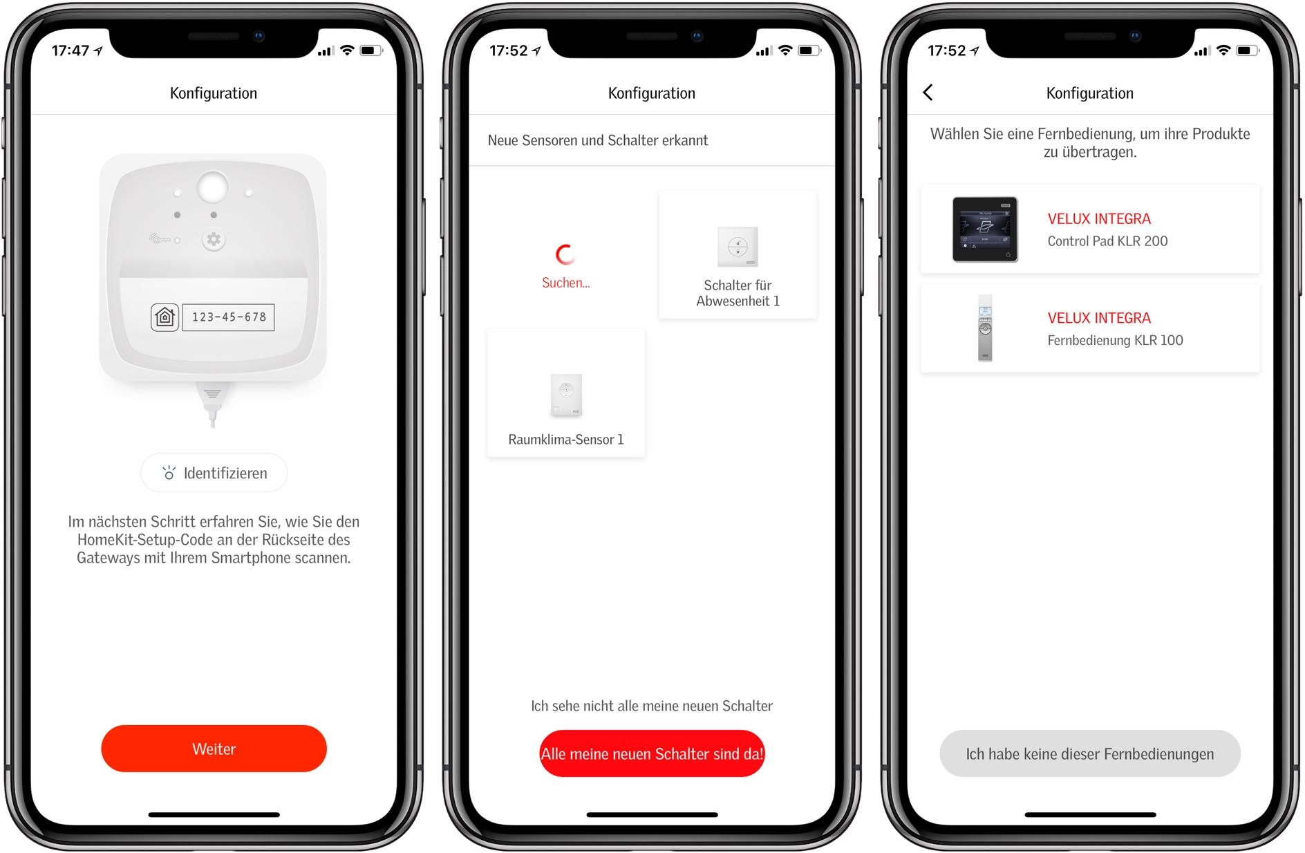 Velux Active Einrichtung - Finden von Geräten