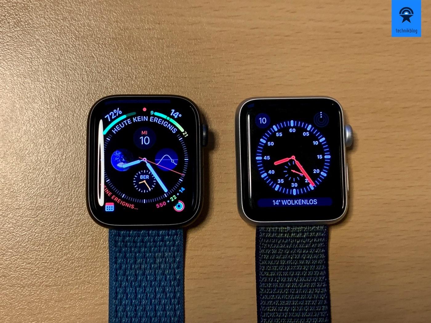 Links: Apple Watch S4, Rechts: Apple Watch S3