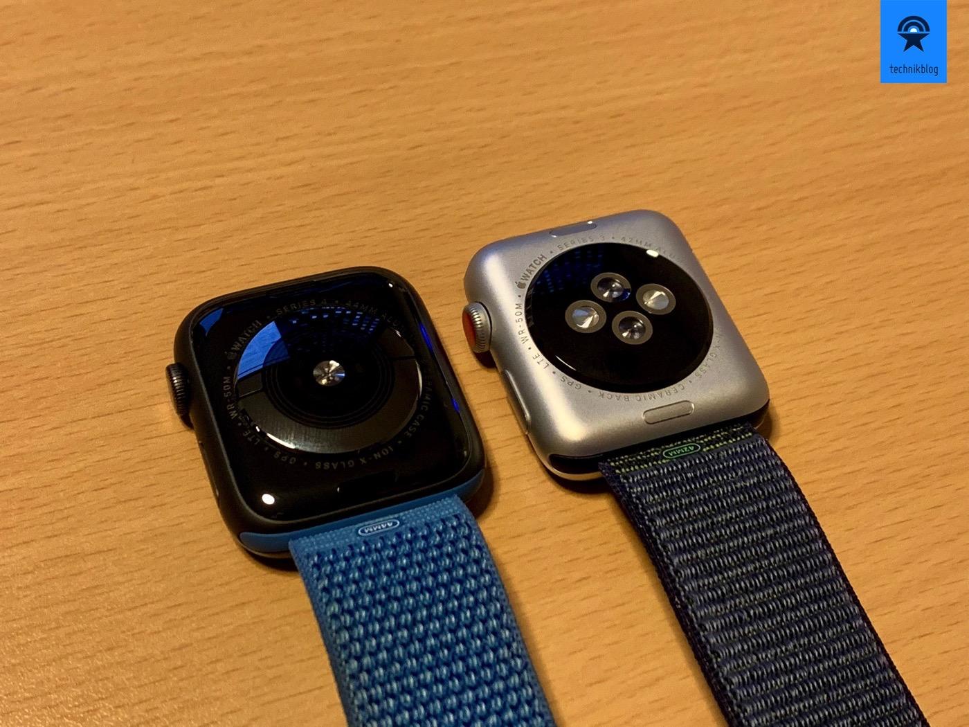 Apple Watch Series 4 und Series 3 Rückseiten