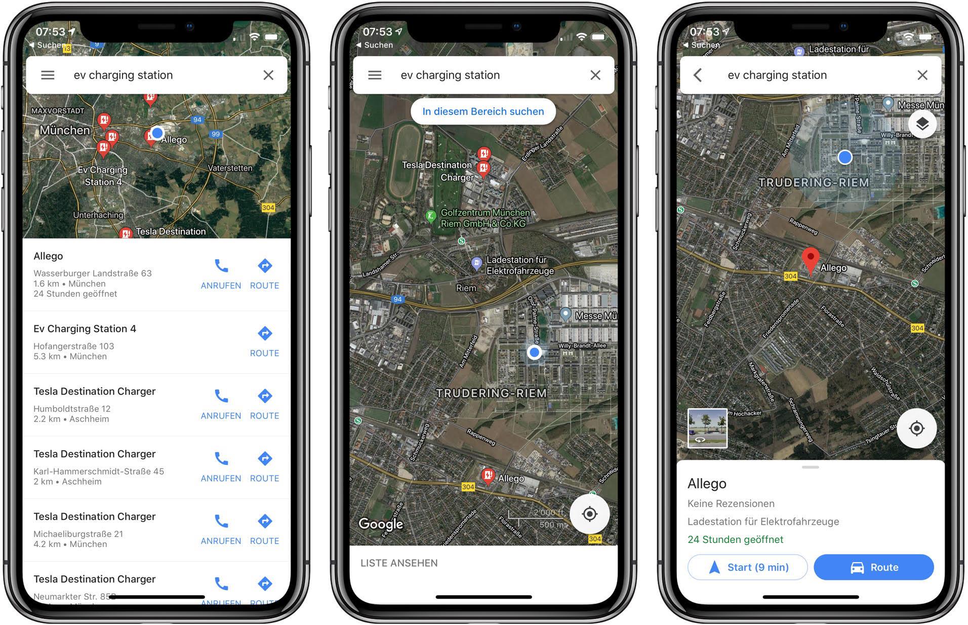 Google Maps zeigt Elektroauto-Ladestationen