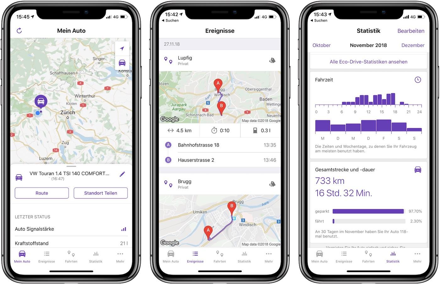 Autosense App und Auswertung der Fahrdaten