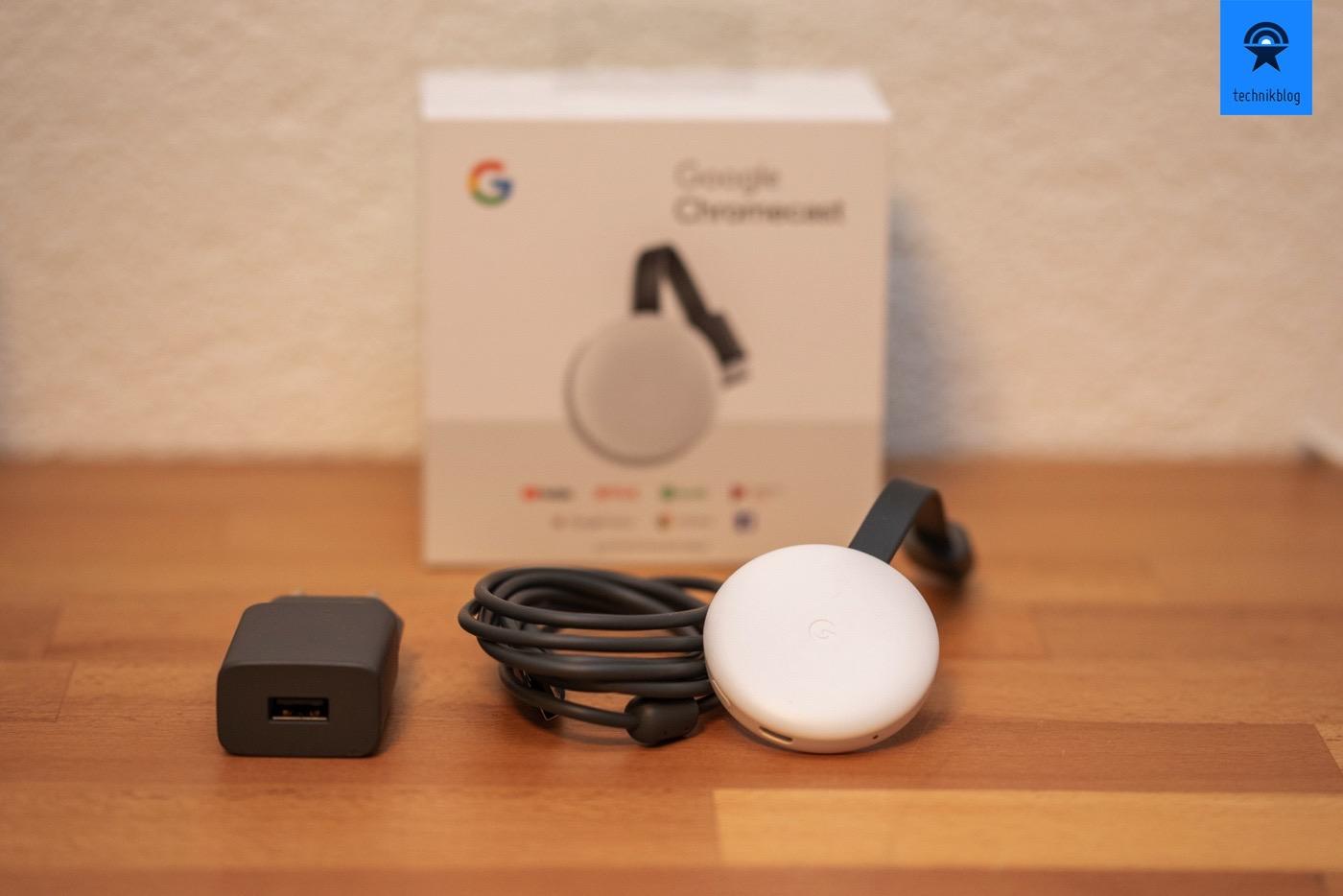 Lieferumfang des neuen Google Chromecast