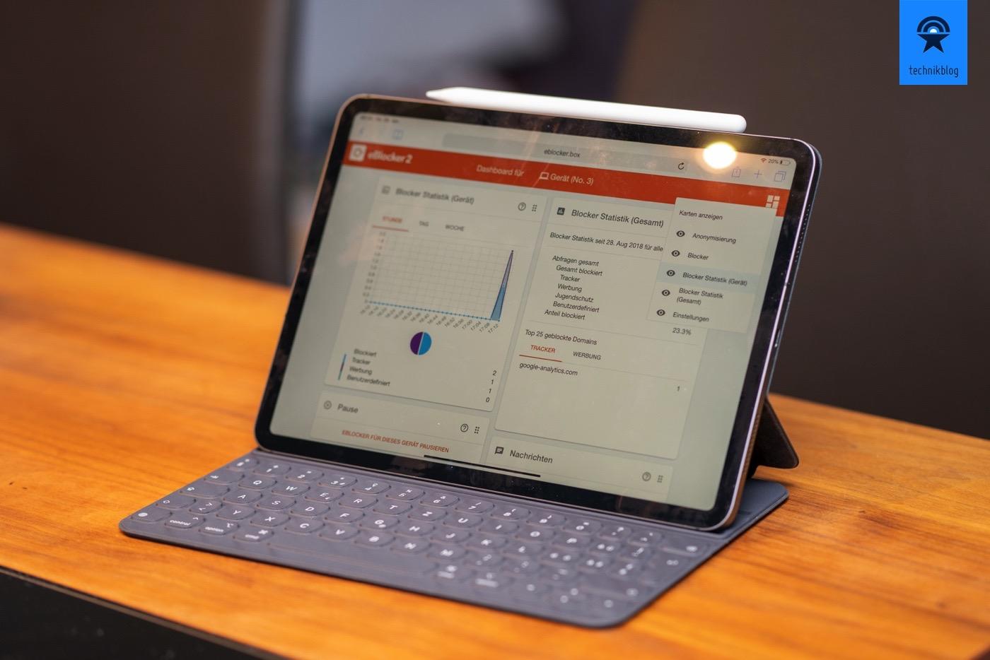 eBlocker2 Interface auf dem neuen iPad Pro