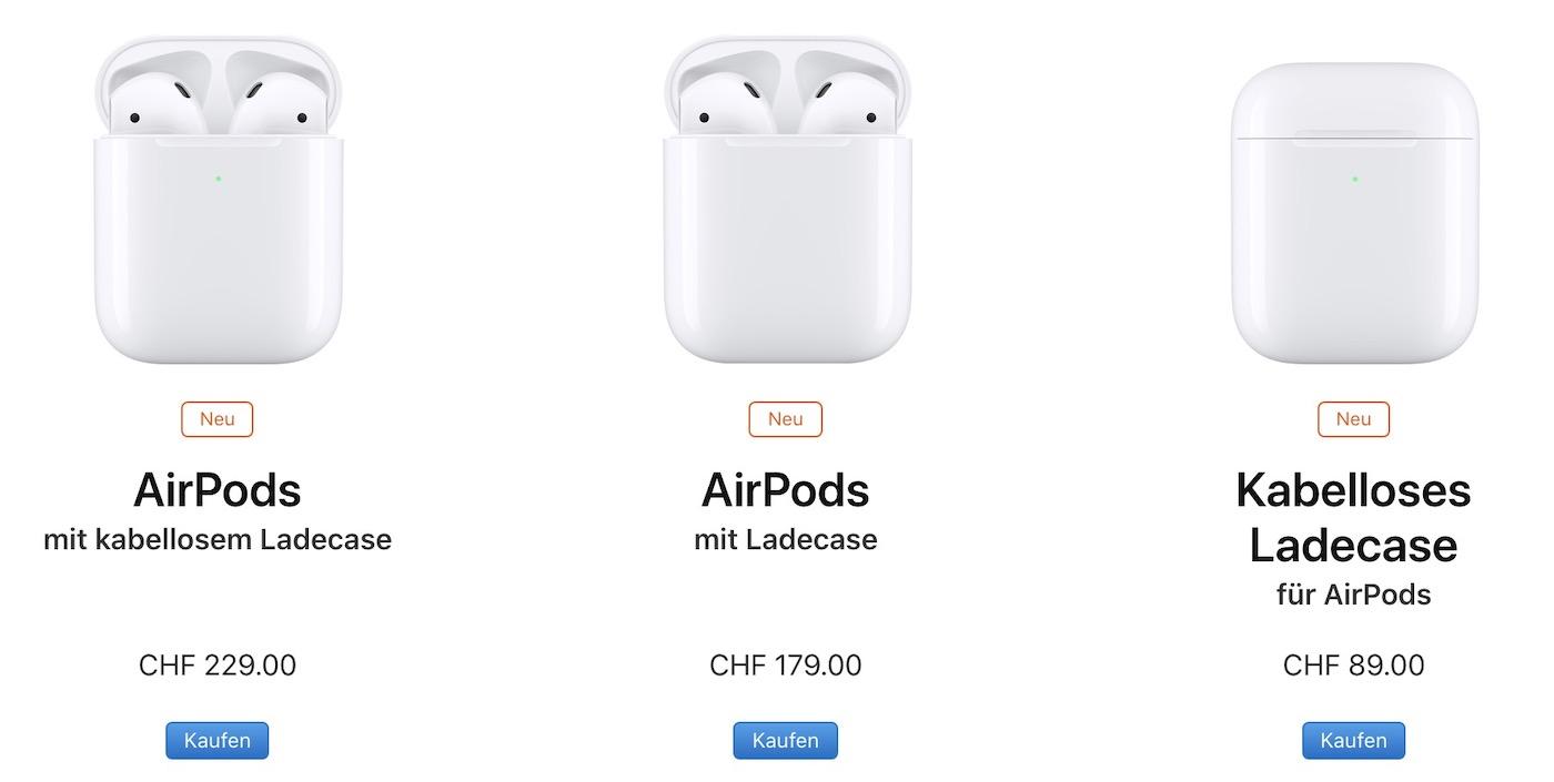 Apple AirPods der zweiten Generation - LineUp