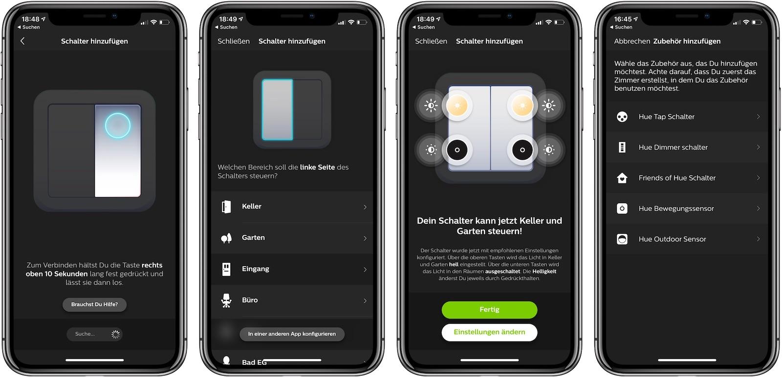 Feller Smart Light Control in der Hue App einrichten