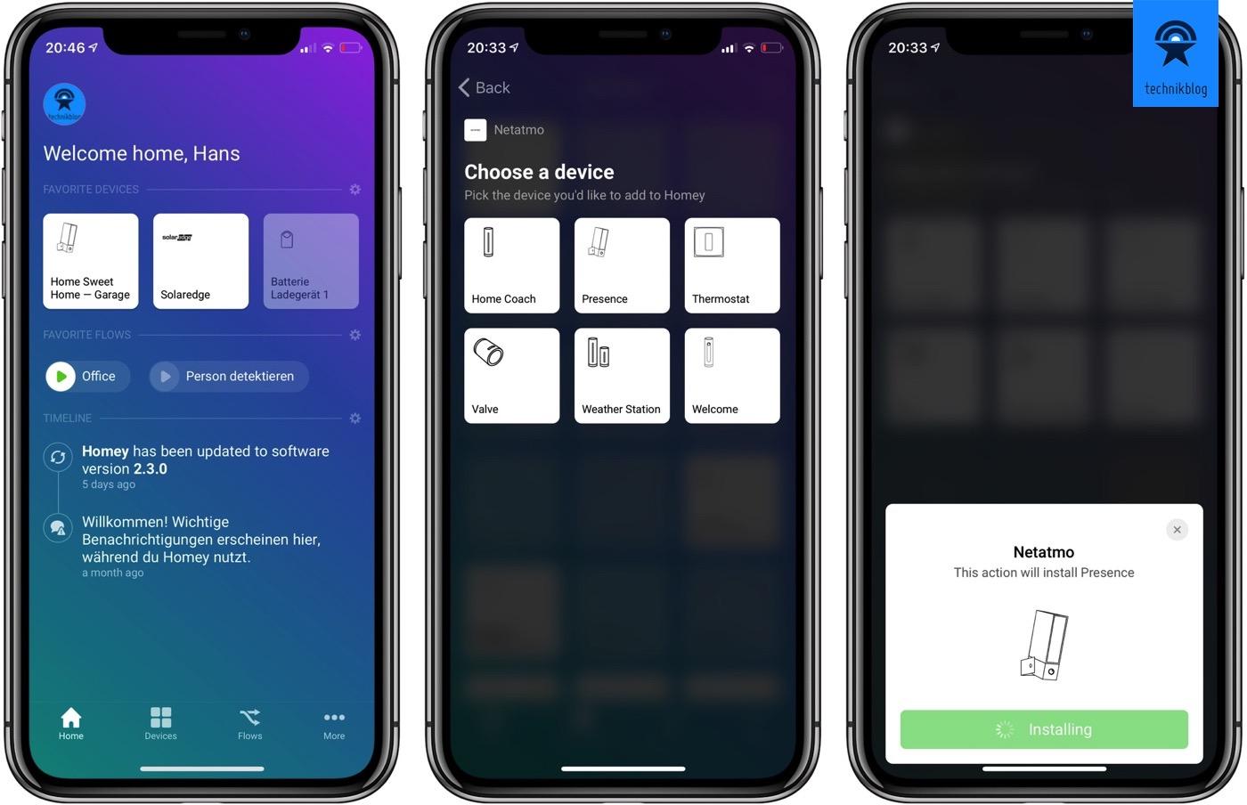 Homey App - Geräte hinzufügen